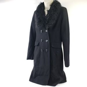 Mossimo Faux Fur Collar Long Trench Coat Peacoat